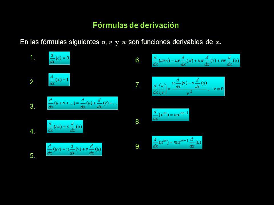 Fórmulas de derivación En las fórmulas siguientes u, v y w son funciones derivables de X. 1. 2. 3. 4. 5. 6. 7. 8. 9.