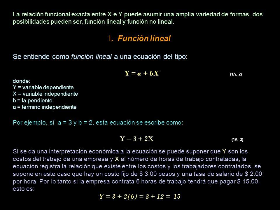 La relación funcional exacta entre X e Y puede asumir una amplia variedad de formas, dos posibilidades pueden ser, función lineal y función no lineal.
