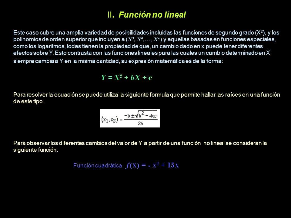 II. Función no lineal Este caso cubre una amplia variedad de posibilidades incluidas las funciones de segundo grado (X 2 ), y los polinomios de orden