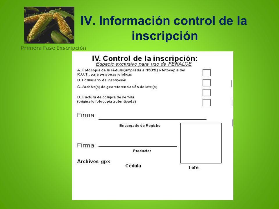IV. IV. Información control de la inscripción Primera Fase Inscripción