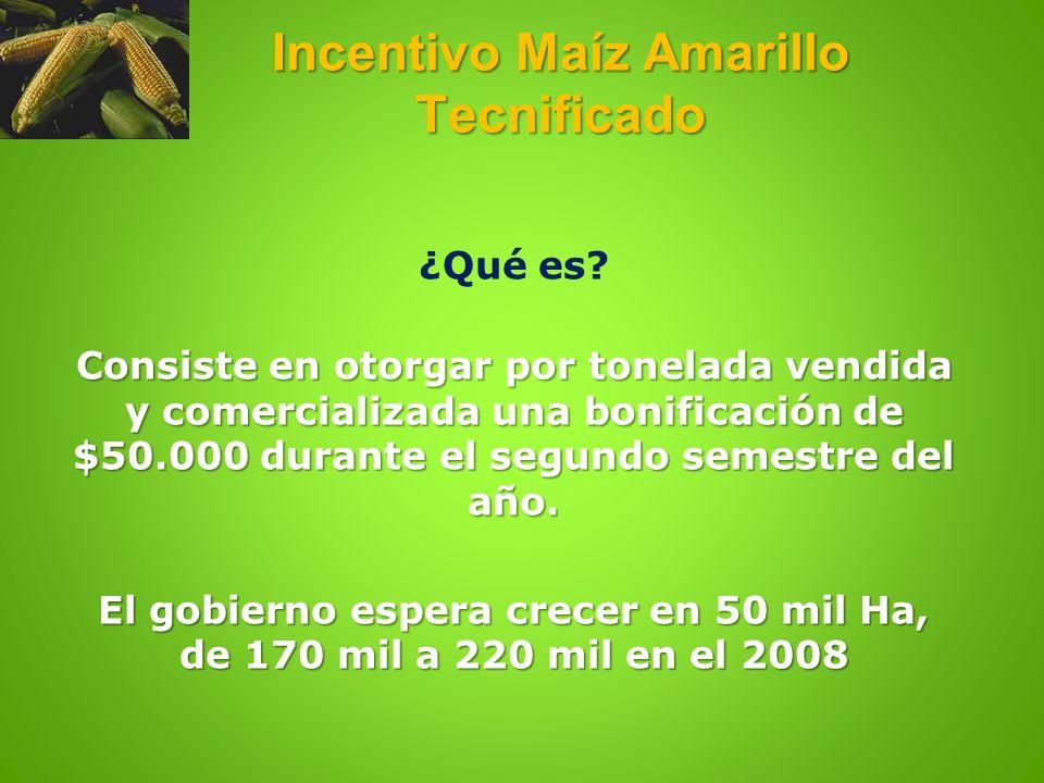 Incentivo Maíz Amarillo Tecnificado ¿Qué es? Consiste en otorgar por tonelada vendida y comercializada una bonificación de $50.000 durante el segundo
