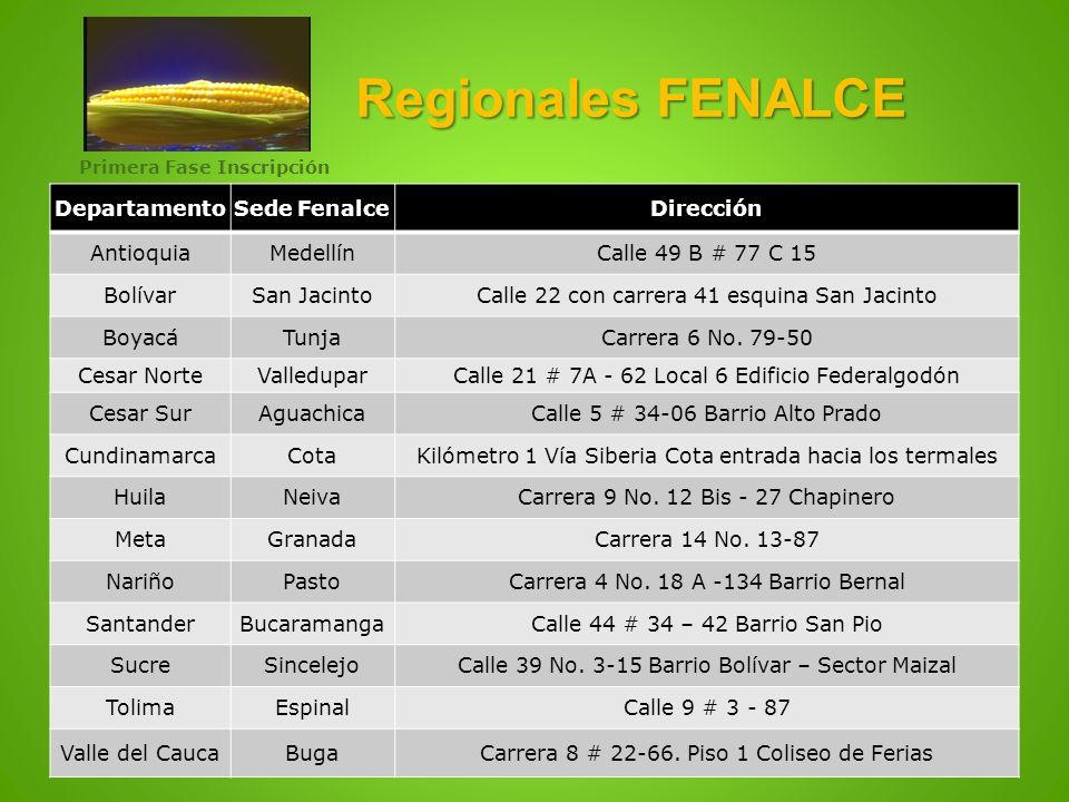 Regionales FENALCE DepartamentoSede FenalceDirección AntioquiaMedellínCalle 49 B # 77 C 15 BolívarSan JacintoCalle 22 con carrera 41 esquina San Jacin
