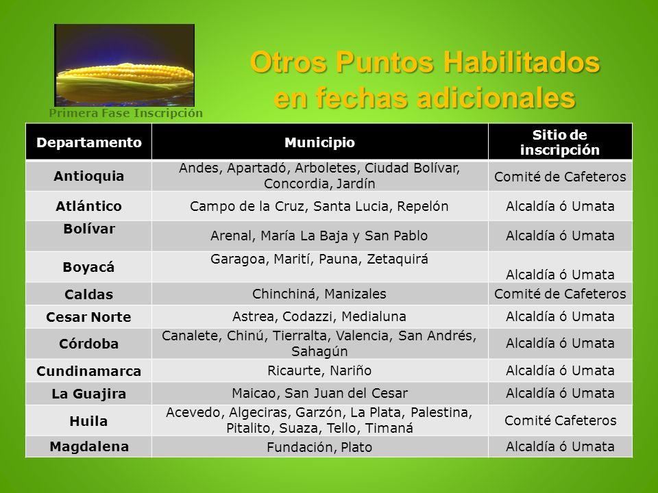 Otros Puntos Habilitados en fechas adicionales DepartamentoMunicipio Sitio de inscripción Antioquia Andes, Apartadó, Arboletes, Ciudad Bolívar, Concor