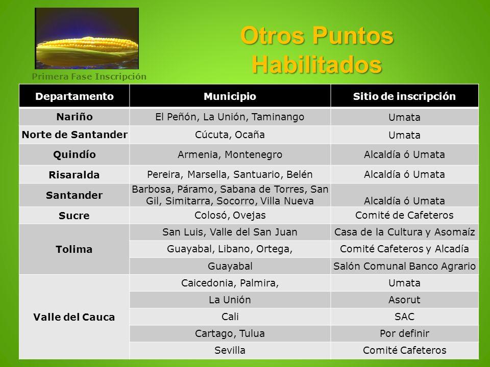 Otros Puntos Habilitados DepartamentoMunicipioSitio de inscripción NariñoEl Peñón, La Unión, TaminangoUmata Norte de SantanderCúcuta, OcañaUmata Quind