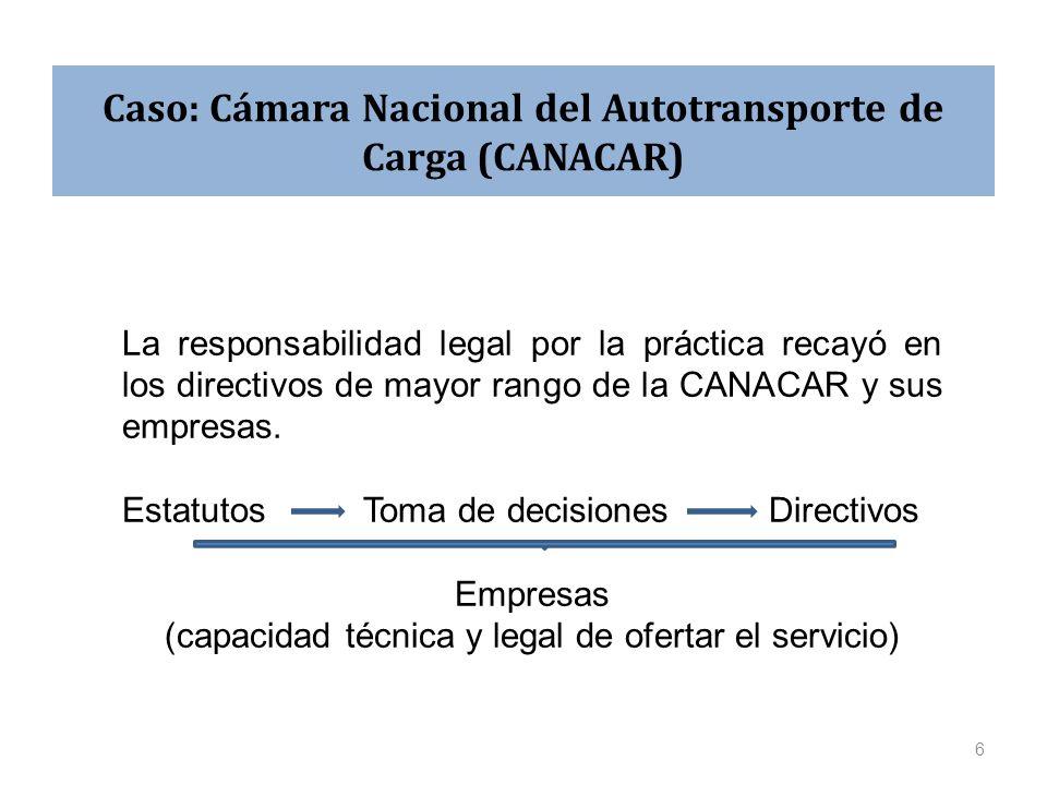 Caso: Cámara Nacional del Autotransporte de Carga (CANACAR) La responsabilidad legal por la práctica recayó en los directivos de mayor rango de la CANACAR y sus empresas.