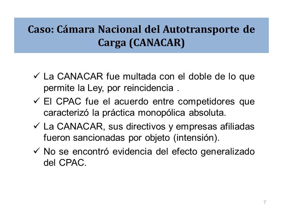 Caso: Cámara Nacional del Autotransporte de Carga (CANACAR) La CANACAR fue multada con el doble de lo que permite la Ley, por reincidencia. El CPAC fu