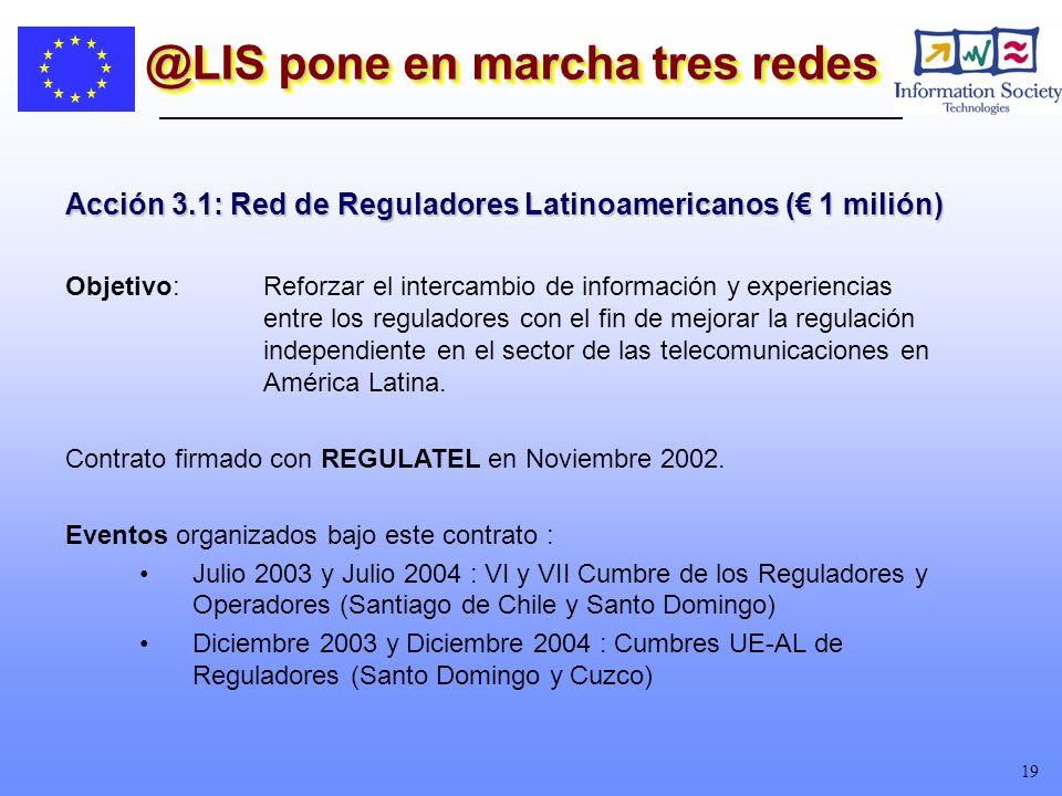19 @LIS pone en marcha tres redes Acción 3.1: Red de Reguladores Latinoamericanos ( 1 milión) Objetivo:Reforzar el intercambio de información y experiencias entre los reguladores con el fin de mejorar la regulación independiente en el sector de las telecomunicaciones en América Latina.
