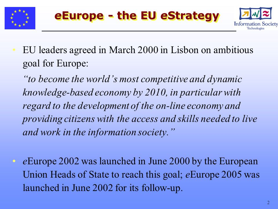 3 The eEurope Approach Common action by governments, public authorities and the private sector Endorsed at the highest political level Benchmarking of national progress at the European Union level on the basis of a list of indicators Dissemination of good practices to learn from each others successes and failures
