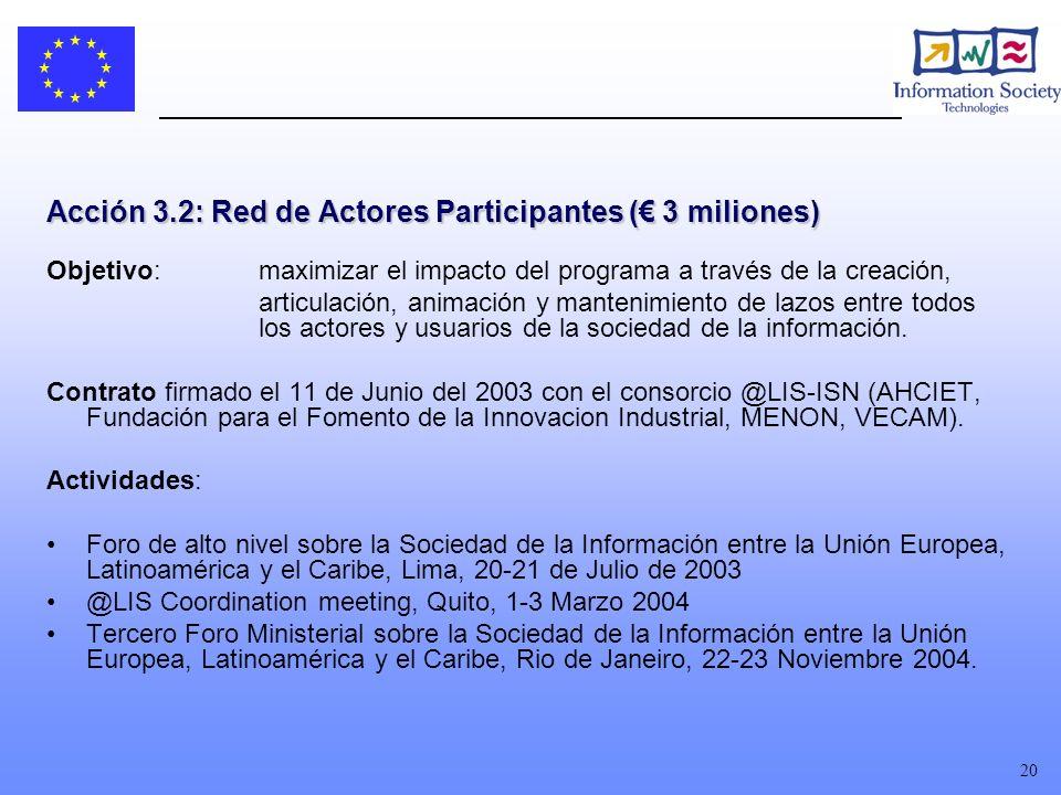20 Acción 3.2: Red de Actores Participantes ( 3 miliones) Objetivo: maximizar el impacto del programa a través de la creación, articulación, animación y mantenimiento de lazos entre todos los actores y usuarios de la sociedad de la información.
