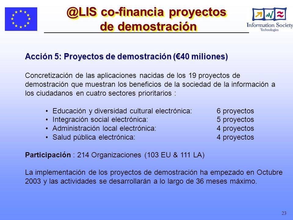 23 @LIS co-financia proyectos de demostración Acción 5: Proyectos de demostración (40 miliones) Concretización de las aplicaciones nacidas de los 19 proyectos de demostración que muestran los beneficios de la sociedad de la información a los ciudadanos en cuatro sectores prioritarios : Educación y diversidad cultural electrónica:6 proyectos Integración social electrónica: 5 proyectos Administración local electrónica:4 proyectos Salud pública electrónica:4 proyectos Participación : 214 Organizaciones (103 EU & 111 LA) La implementación de los proyectos de demostración ha empezado en Octubre 2003 y las actividades se desarrollarán a lo largo de 36 meses máximo.