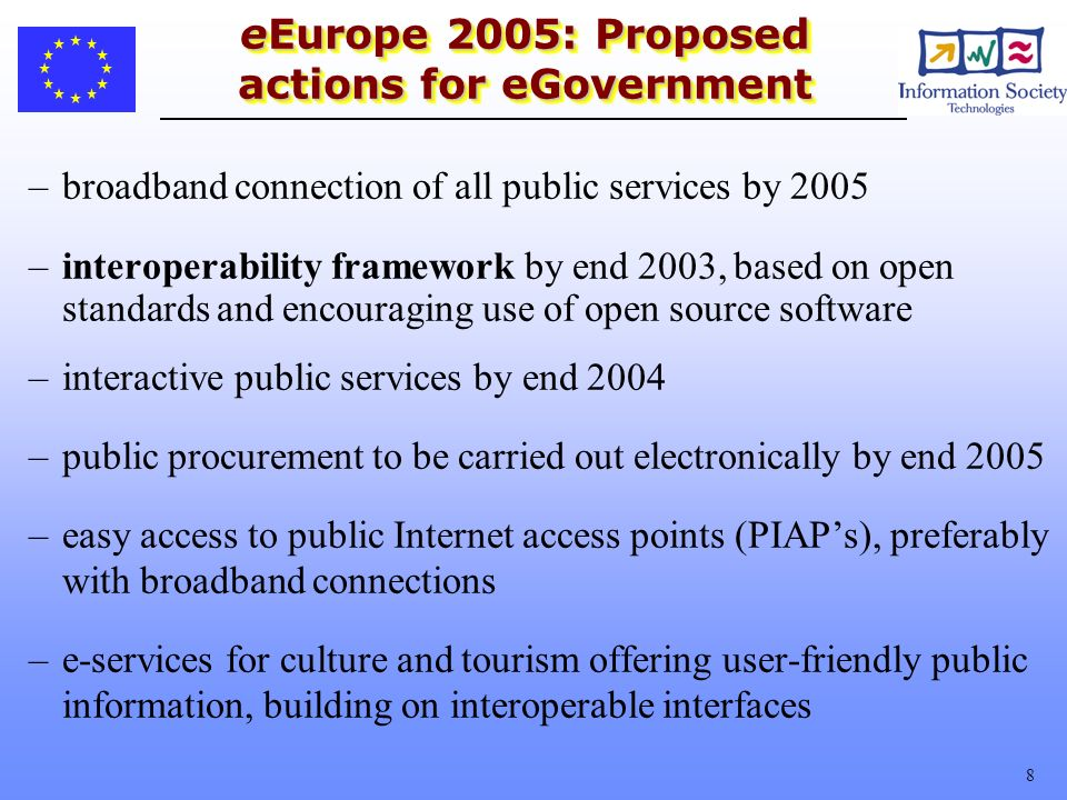 8 eEurope 2005: Proposed actions for eGovernment –broadband connection of all public services by 2005 –interoperability framework by end 2003, based on open standards and encouraging use of open source software –interactive public services by end 2004 –public procurement to be carried out electronically by end 2005 –easy access to public Internet access points (PIAPs), preferably with broadband connections –e-services for culture and tourism offering user-friendly public information, building on interoperable interfaces