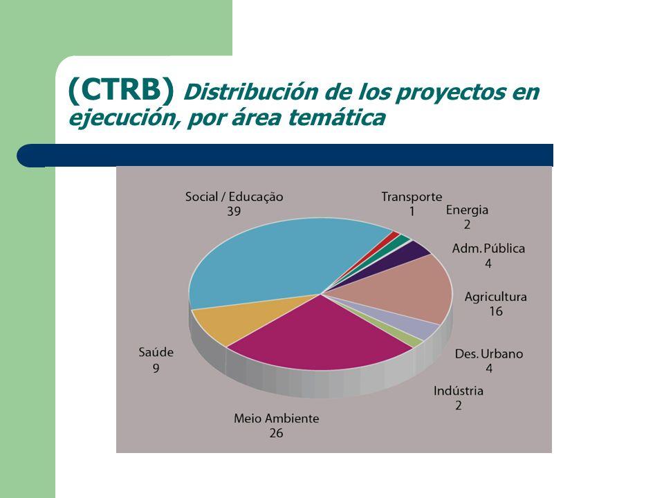 (CTRB) Distribución de los proyectos en ejecución, por área temática