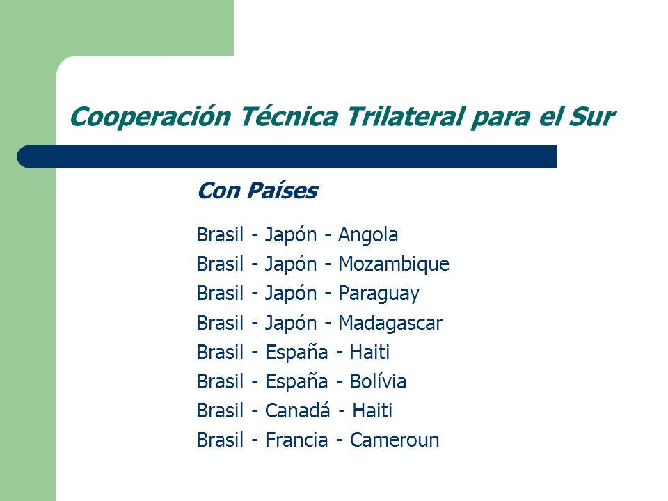 Con Países Brasil - Japón - Angola Brasil - Japón - Mozambique Brasil - Japón - Paraguay Brasil - Japón - Madagascar Brasil - España - Haiti Brasil - España - Bolívia Brasil - Canadá - Haiti Brasil - Francia - Cameroun Cooperación Técnica Trilateral para el Sur