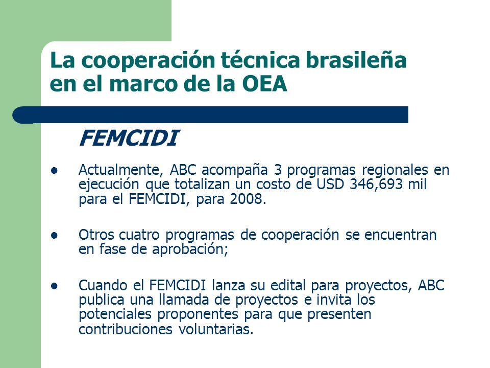 FEMCIDI Actualmente, ABC acompaña 3 programas regionales en ejecución que totalizan un costo de USD 346,693 mil para el FEMCIDI, para 2008.