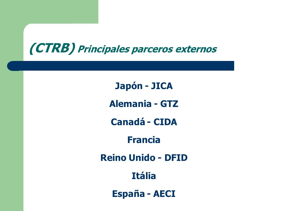 (CTRB) Principales parceros externos Japón - JICA Alemania - GTZ Canadá - CIDA Francia Reino Unido - DFID Itália España - AECI
