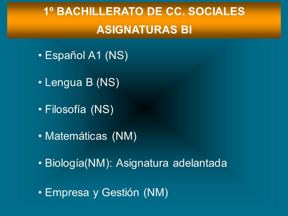 1º BACHILLERATO DE CC. SOCIALES ASIGNATURAS BI Español A1 (NS) Lengua B (NS) Filosofía (NS) Matemáticas (NM) Biología(NM): Asignatura adelantada Empre