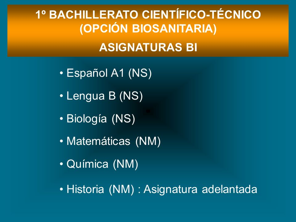 1º BACHILLERATO CIENTÍFICO-TÉCNICO (OPCIÓN BIOSANITARIA) ASIGNATURAS BI Español A1 (NS) Lengua B (NS) Biología (NS) Matemáticas (NM) Química (NM) Hist