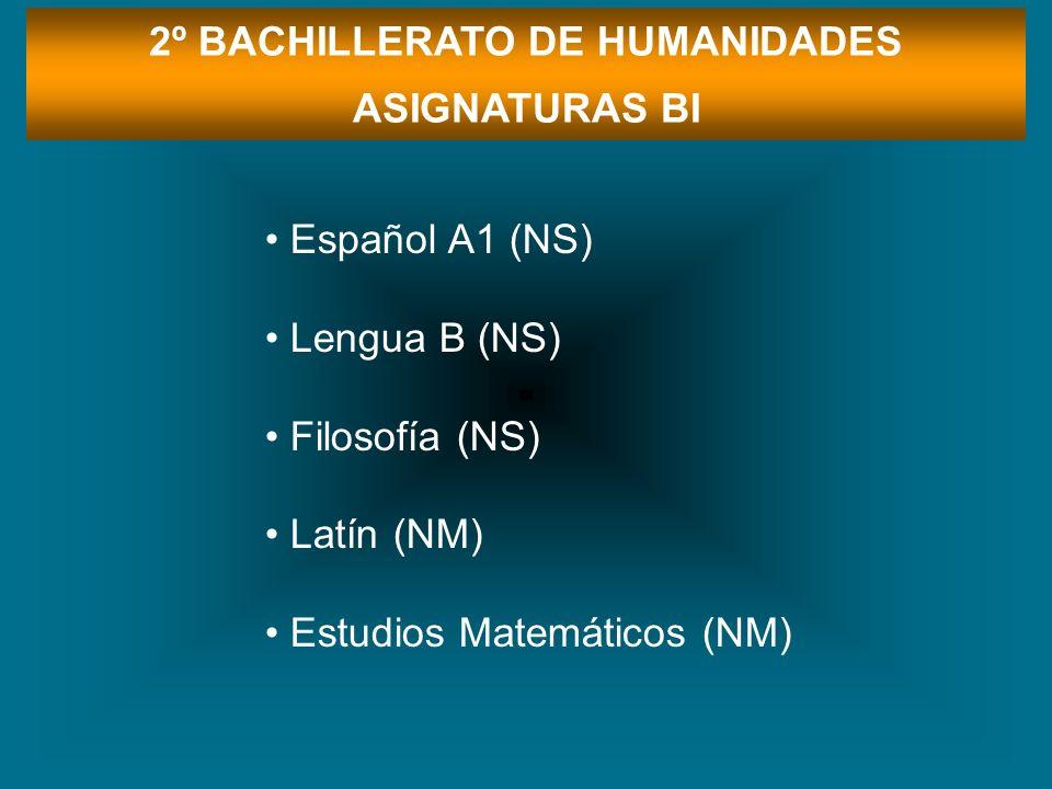 2º BACHILLERATO DE HUMANIDADES ASIGNATURAS BI Español A1 (NS) Lengua B (NS) Filosofía (NS) Latín (NM) Estudios Matemáticos (NM)