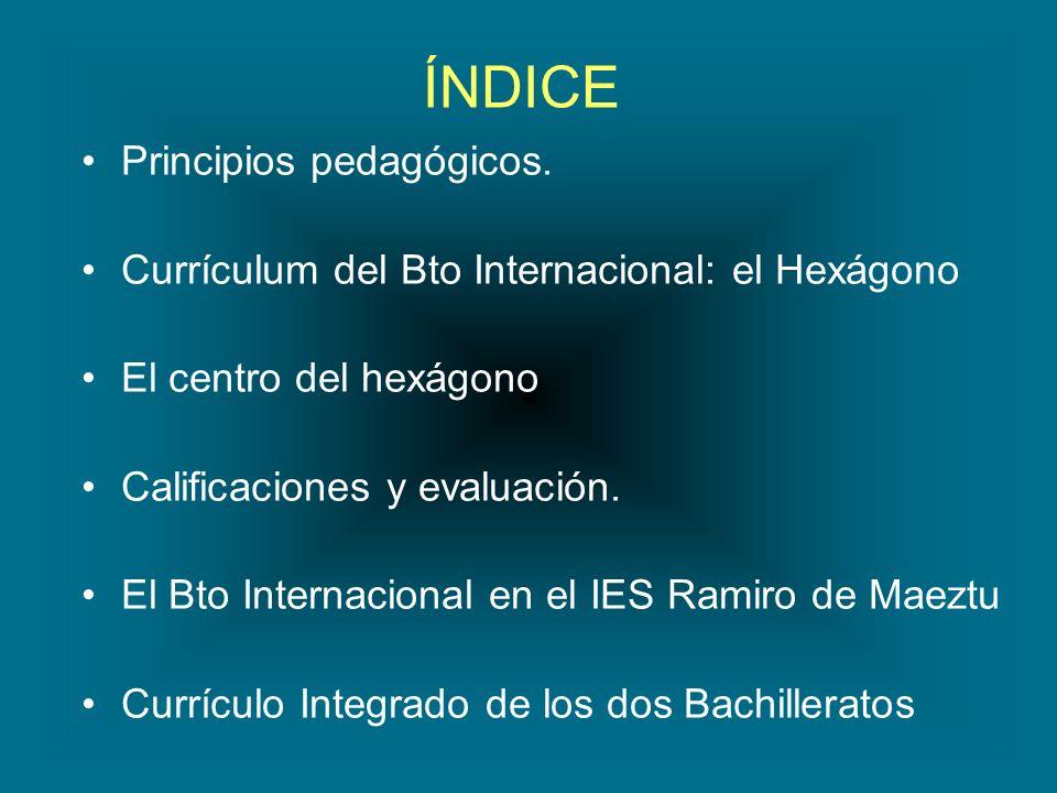 ÍNDICE Principios pedagógicos. Currículum del Bto Internacional: el Hexágono El centro del hexágono Calificaciones y evaluación. El Bto Internacional