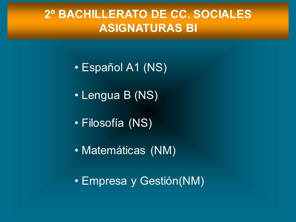 2º BACHILLERATO DE CC. SOCIALES ASIGNATURAS BI Español A1 (NS) Lengua B (NS) Filosofía (NS) Matemáticas (NM) Empresa y Gestión(NM)