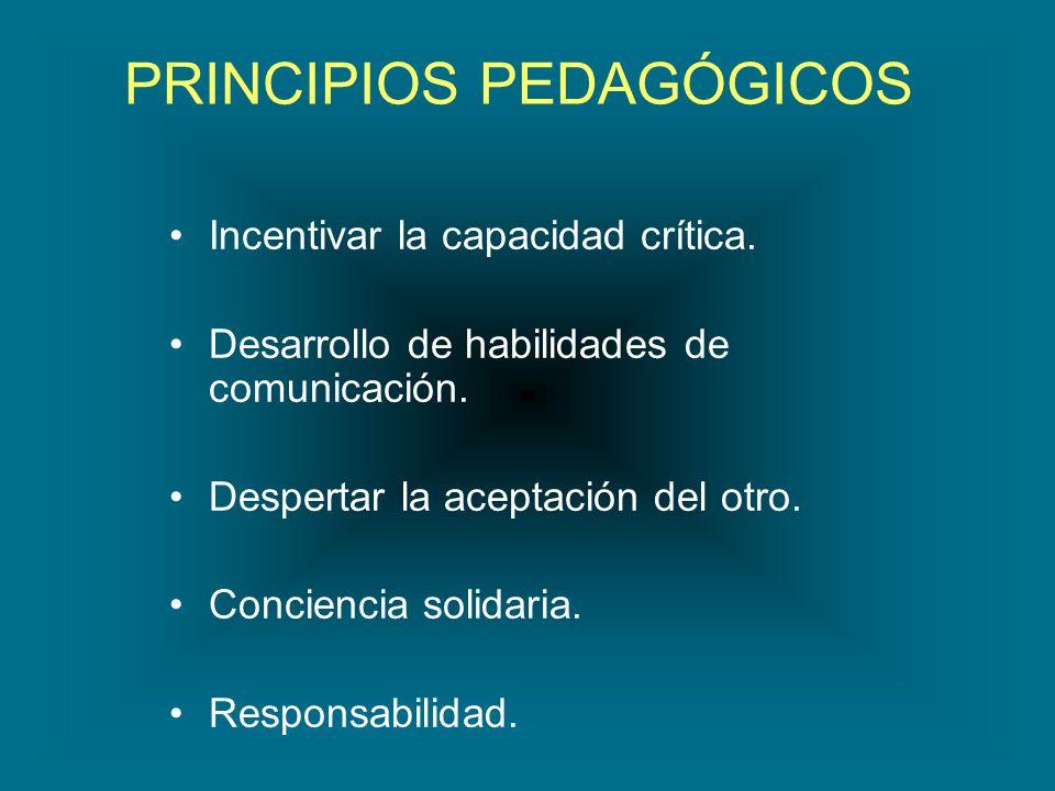 PRINCIPIOS PEDAGÓGICOS Incentivar la capacidad crítica. Desarrollo de habilidades de comunicación. Despertar la aceptación del otro. Conciencia solida