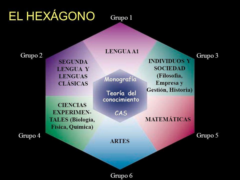 Teoría del conocimiento ARTES Grupo 1 LENGUA A1 Monografía CIENCIAS EXPERIMEN- TALES (Biología, Física, Química) Grupo 6 Grupo 3 Grupo 5 Grupo 2 SEGUN