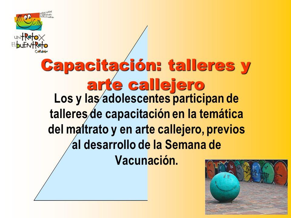 Capacitación: talleres y arte callejero Los y las adolescentes participan de talleres de capacitación en la temática del maltrato y en arte callejero,