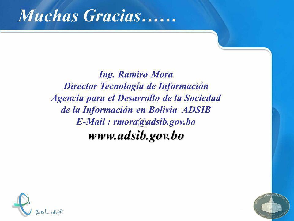 Muchas Gracias…… Ing. Ramiro Mora Director Tecnología de Información Agencia para el Desarrollo de la Sociedad de la Información en Bolivia ADSIB E-Ma