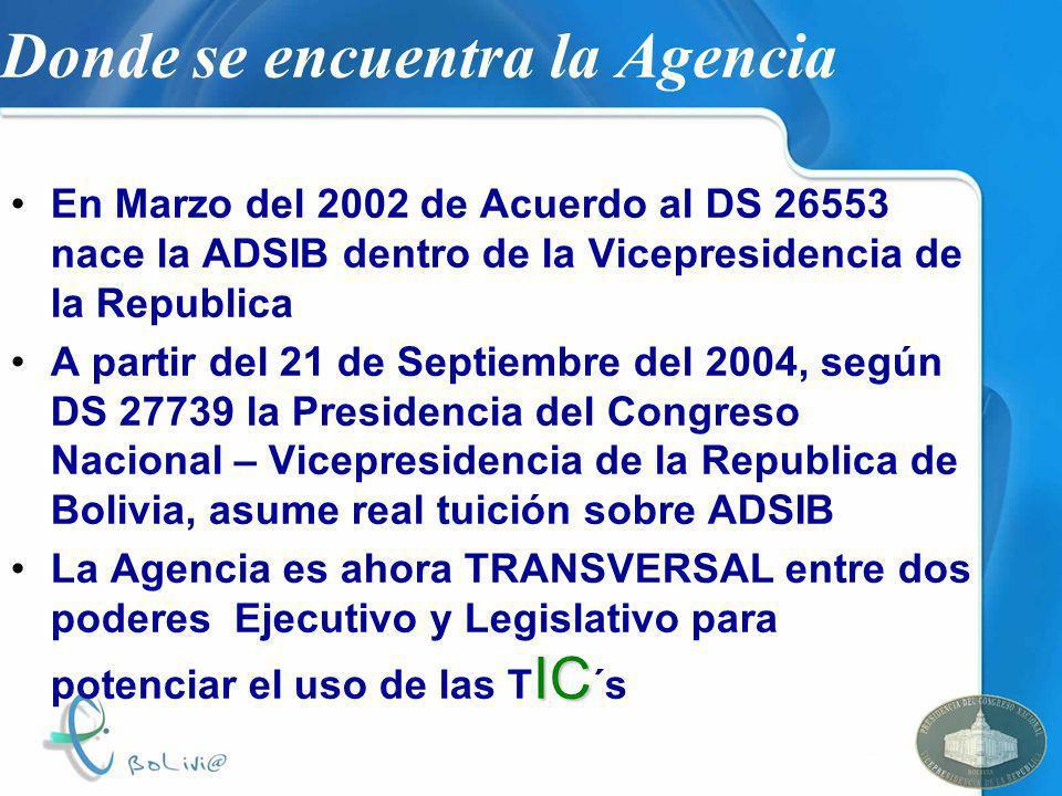 Donde se encuentra la Agencia En Marzo del 2002 de Acuerdo al DS 26553 nace la ADSIB dentro de la Vicepresidencia de la Republica A partir del 21 de S
