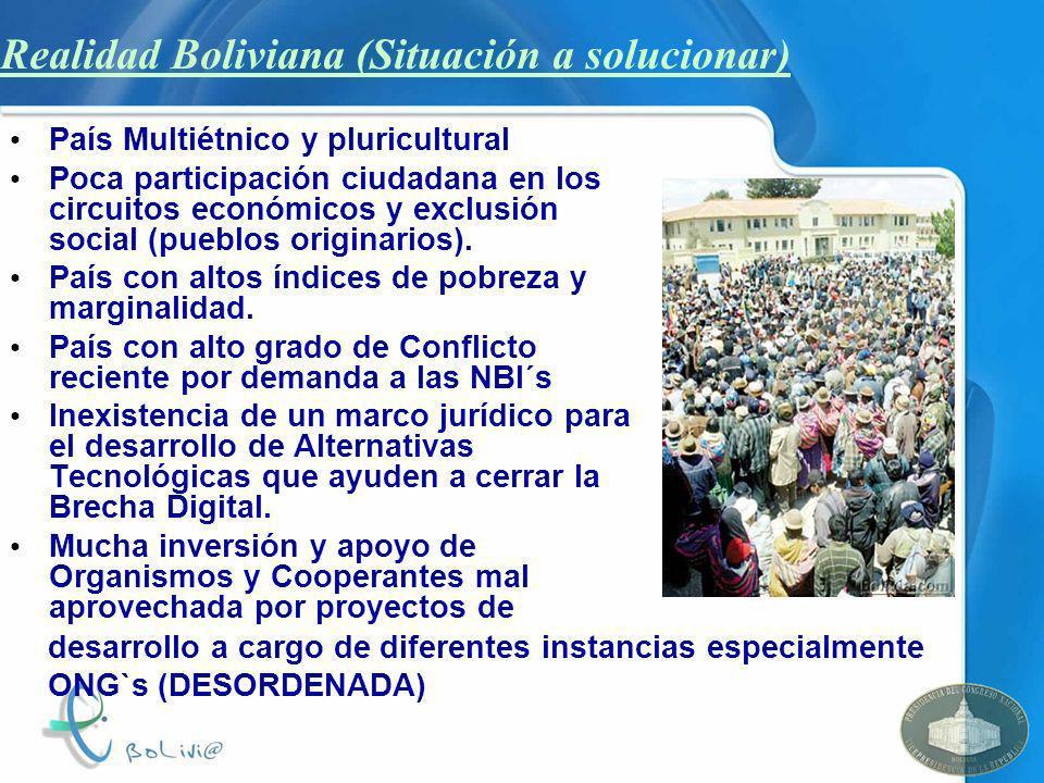 Realidad Boliviana (Situación a solucionar) País Multiétnico y pluricultural Poca participación ciudadana en los circuitos económicos y exclusión soci