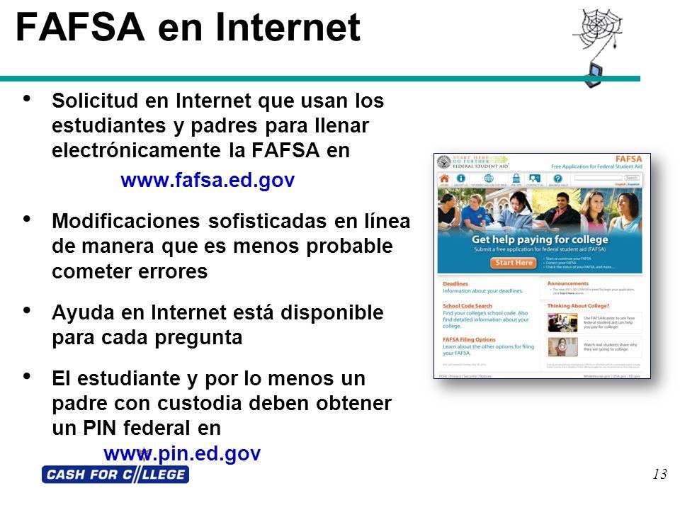 13 FAFSA en Internet Solicitud en Internet que usan los estudiantes y padres para llenar electrónicamente la FAFSA en www.fafsa.ed.gov Modificaciones