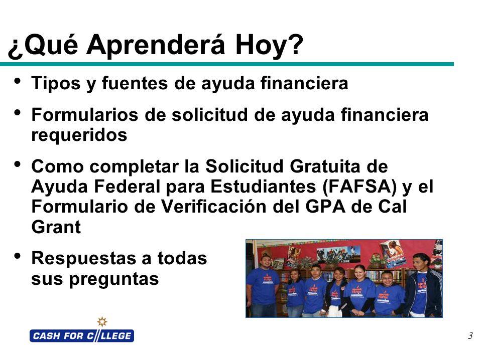 3 ¿Qué Aprenderá Hoy? Tipos y fuentes de ayuda financiera Formularios de solicitud de ayuda financiera requeridos Como completar la Solicitud Gratuita