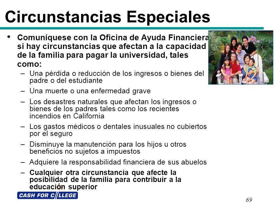 69 Circunstancias Especiales Comuníquese con la Oficina de Ayuda Financiera si hay circunstancias que afectan a la capacidad de la familia para pagar