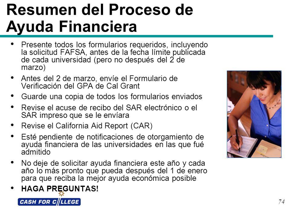 74 Resumen del Proceso de Ayuda Financiera Presente todos los formularios requeridos, incluyendo la solicitud FAFSA, antes de la fecha límite publicad