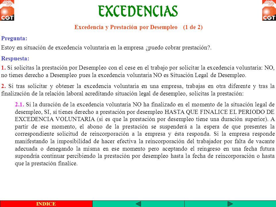 Excedencia y Prestación por Desempleo (2 de 2) 2.2.