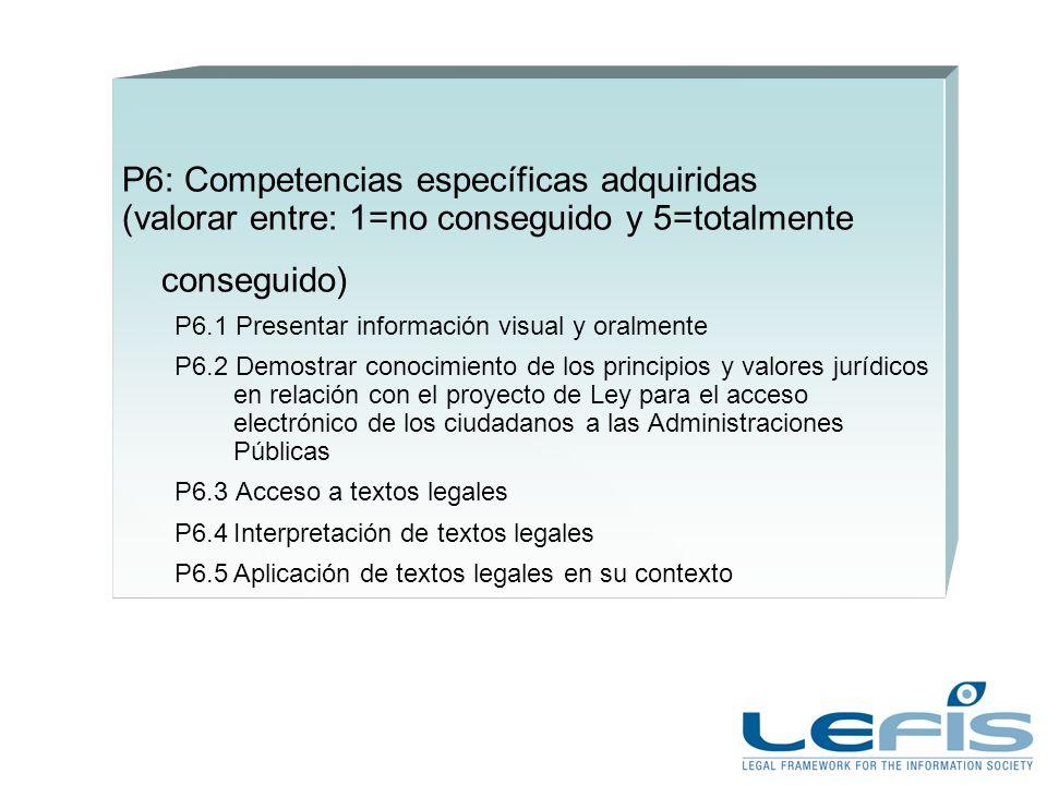 P6: Competencias específicas adquiridas (valorar entre: 1=no conseguido y 5=totalmente conseguido) P6.1 Presentar información visual y oralmente P6.2 Demostrar conocimiento de los principios y valores jurídicos en relación con el proyecto de Ley para el acceso electrónico de los ciudadanos a las Administraciones Públicas P6.3 Acceso a textos legales P6.4Interpretación de textos legales P6.5Aplicación de textos legales en su contexto