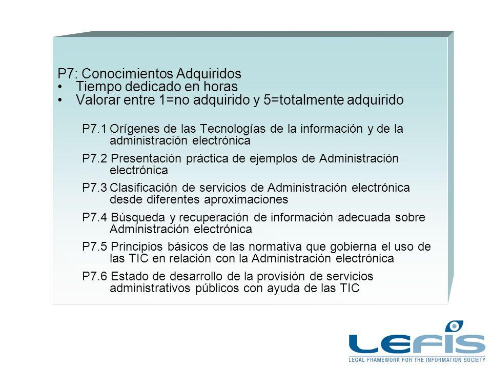 P7: Conocimientos Adquiridos Tiempo dedicado en horas Valorar entre 1=no adquirido y 5=totalmente adquirido P7.1Orígenes de las Tecnologías de la información y de la administración electrónica P7.2 Presentación práctica de ejemplos de Administración electrónica P7.3Clasificación de servicios de Administración electrónica desde diferentes aproximaciones P7.4 Búsqueda y recuperación de información adecuada sobre Administración electrónica P7.5 Principios básicos de las normativa que gobierna el uso de las TIC en relación con la Administración electrónica P7.6 Estado de desarrollo de la provisión de servicios administrativos públicos con ayuda de las TIC