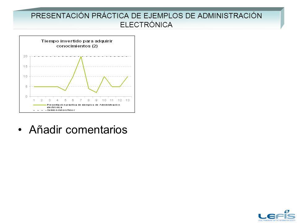 PRESENTACIÓN PRÁCTICA DE EJEMPLOS DE ADMINISTRACIÓN ELECTRÓNICA Añadir comentarios