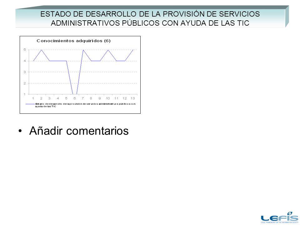 ESTADO DE DESARROLLO DE LA PROVISIÓN DE SERVICIOS ADMINISTRATIVOS PÚBLICOS CON AYUDA DE LAS TIC Añadir comentarios