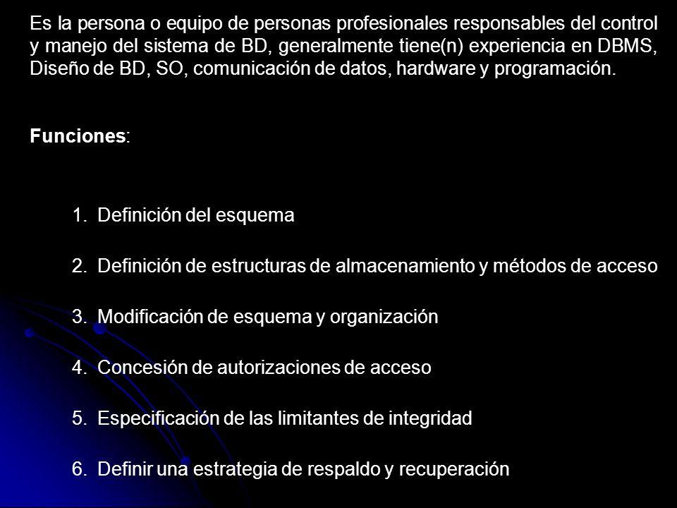 Es la persona o equipo de personas profesionales responsables del control y manejo del sistema de BD, generalmente tiene(n) experiencia en DBMS, Diseñ
