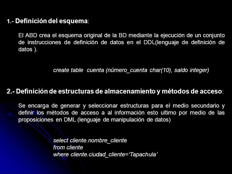 1.- Definición del esquema : El ABD crea el esquema original de la BD mediante la ejecución de un conjunto de instrucciones de definición de datos en