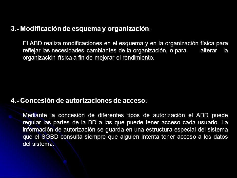 3.- Modificación de esquema y organización : El ABD realiza modificaciones en el esquema y en la organización física para reflejar las necesidades cam