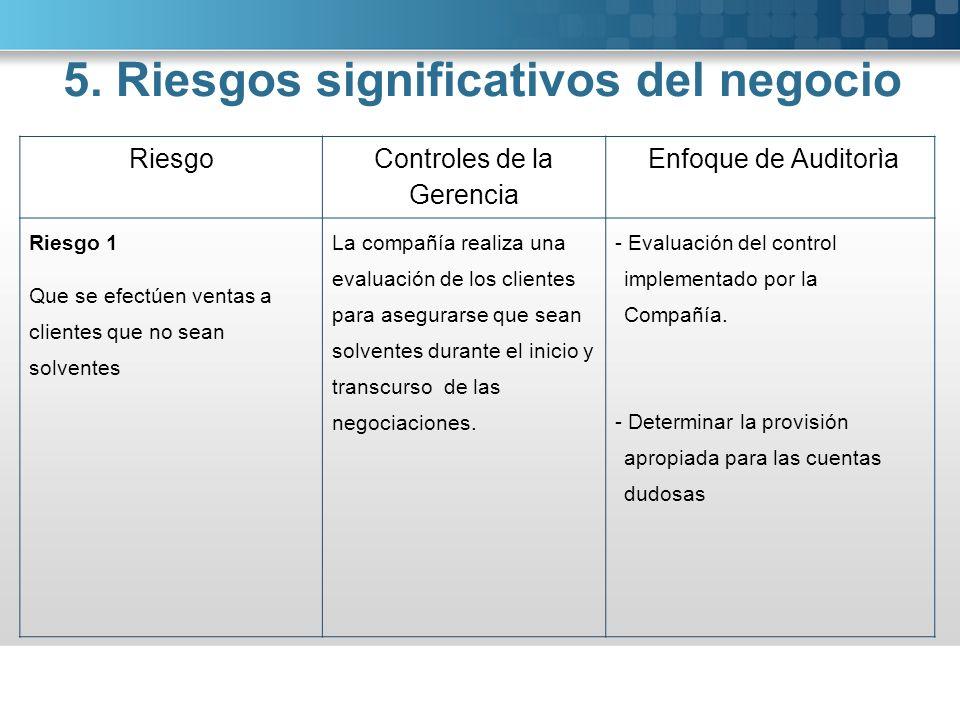 Riesgo Controles de la Gerencia Enfoque de Auditorìa Riesgo 1 Que se efectúen ventas a clientes que no sean solventes La compañía realiza una evaluaci