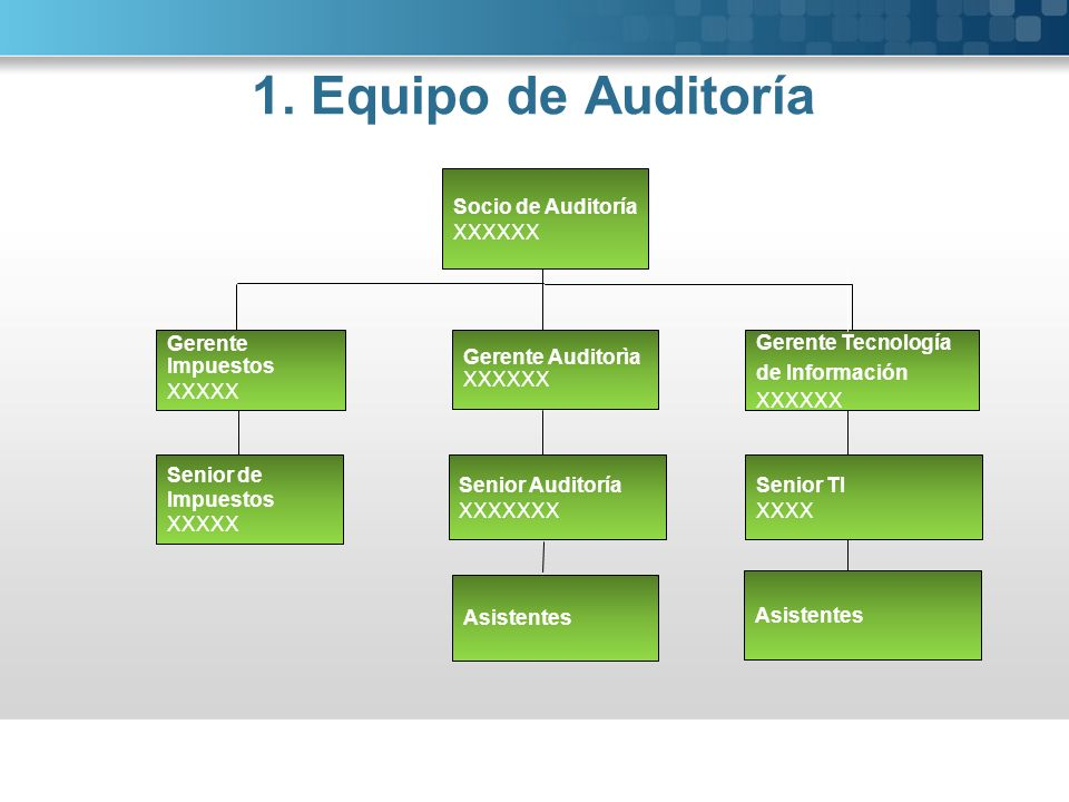 1. Equipo de Auditoría Senior Auditoría XXXXXXX Socio de Auditoría XXXXXX Gerente Auditorìa XXXXXX Asistentes Senior de Impuestos XXXXX Gerente Impues