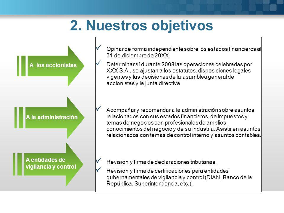 2. Nuestros objetivos Opinar de forma independiente sobre los estados financieros al 31 de diciembre de 20XX. Determinar sí durante 2008 las operacion