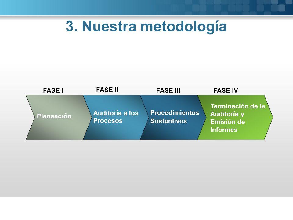 Planeación Auditoría a los Procesos Procedimientos Sustantivos FASE I FASE II FASE III FASE IV Terminación de la Auditoría y Emisión de Informes 3. Nu