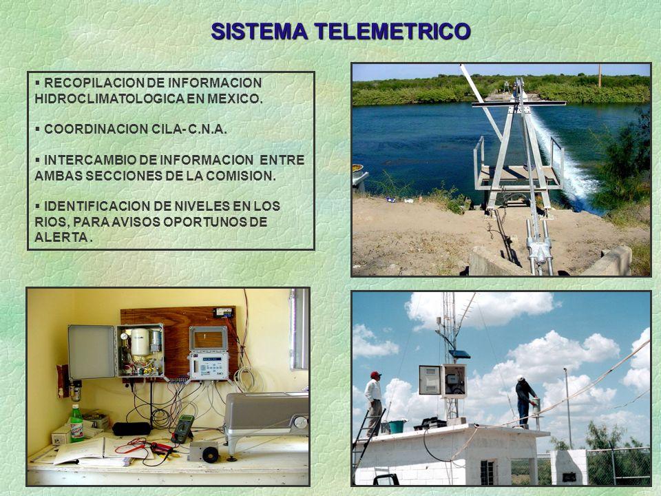 SISTEMA TELEMETRICO RECOPILACION DE INFORMACION HIDROCLIMATOLOGICA EN MEXICO. COORDINACION CILA- C.N.A. INTERCAMBIO DE INFORMACION ENTRE AMBAS SECCION