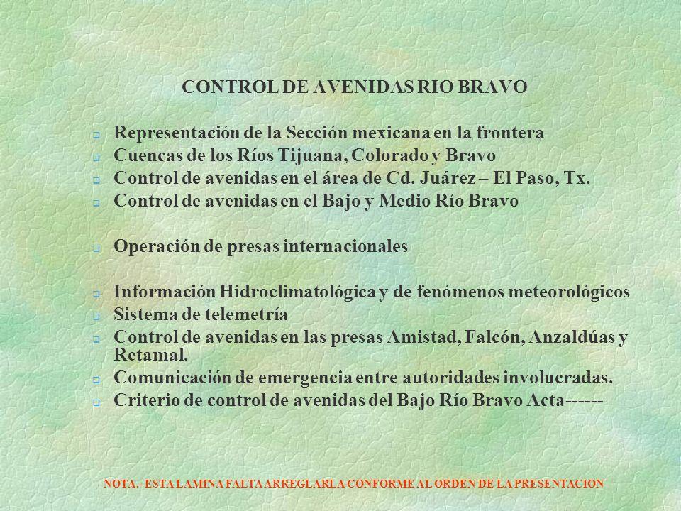 CONTROL DE AVENIDAS RIO BRAVO Representación de la Sección mexicana en la frontera Cuencas de los Ríos Tijuana, Colorado y Bravo Control de avenidas e