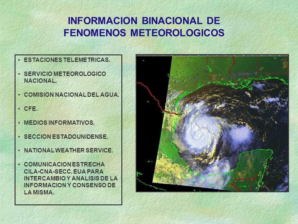 ESTACIONES TELEMETRICAS. SERVICIO METEOROLOGICO NACIONAL. COMISION NACIONAL DEL AGUA. CFE. MEDIOS INFORMATIVOS. SECCION ESTADOUNIDENSE. NATIONAL WEATH