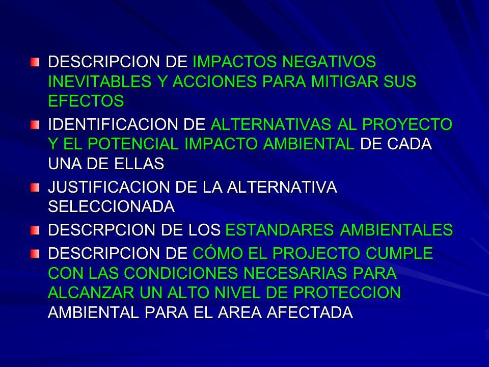 DESCRIPCION DE IMPACTOS NEGATIVOS INEVITABLES Y ACCIONES PARA MITIGAR SUS EFECTOS IDENTIFICACION DE ALTERNATIVAS AL PROYECTO Y EL POTENCIAL IMPACTO AM